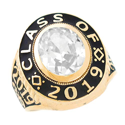 Class 10k Ring (10k Gold April CZ Simulated Birthstone 2019 Graduation Mens Class Ring)