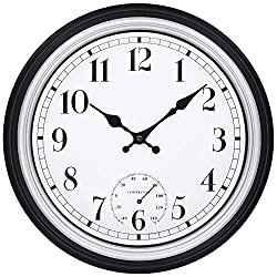 45Min 12 Inch Indoor/Outdoor Retro Round Waterproof Wall Clock with Thermometer, Silent Non Ticking Battery Operated Quality Quartz Wall Clock Home/Patio Decor(Silver)