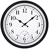 45Min 12 Inch Retro Wall Clock with Thermometer, Silent Non Ticking Round Home Decor Wall Clock with Arabic Numerals(Silver)