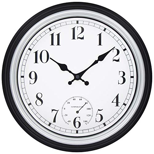 - 45Min 12 Inch Retro Wall Clock with Thermometer, Silent Non Ticking Round Home Decor Wall Clock with Arabic Numerals(Silver)