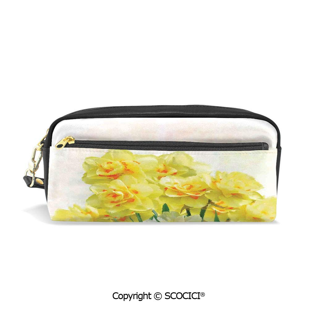 PU Leather Student Pencil Bag Multi Function Pen Pouch Watercolors Paint of Daffodils Bouquet Called Jonquils in England Lily Office Organizer Case Cosmetic Makeup Bag