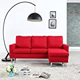 apartment size sectional sofa Modern Small Space Reversible Linen Fabric Sectional Sofa in Color Light Grey, Dark Grey, Beige, Red (Red)