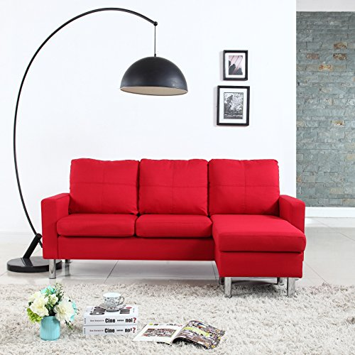 Modern Linen Fabric Red Sectional Sofa Small Space Configura