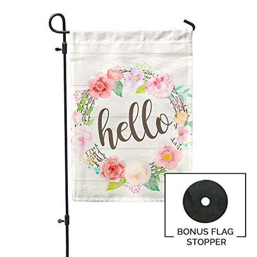 Second East Hello Floral Wreath Garden Flag Summer Seasonal