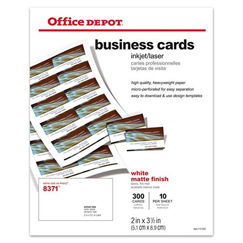 (Office Depot(R) Laser/Inkjet Matte Business Cards, 2in. x 3 1/2in., White, Box Of)