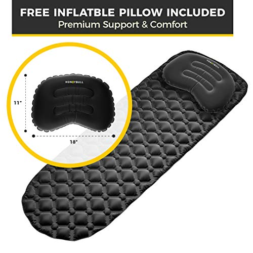 HONEYBULL Sleeping Pad with Pillow, Travel Bag & Fix Kit   Inflatable for Camping