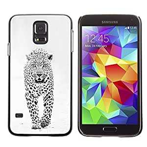 Planetar® ( Snow Leopard Winter Black White Spots ) SAMSUNG Galaxy S5 V / i9600 / SM-G900F / SM-G900M / SM-G900A / SM-G900T / SM-G900W8 Fundas Cover Cubre Hard Case Cover