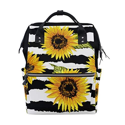 TropicalLife Sunflower Flower Stripe Diaper Backpack Large Capacity Baby Bags Multi-Function Zipper Casual Travel Backpacks for Mom Dad Unisex]()