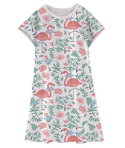 Enlifety Baby Kids Cap Sleeve T-Shirt Dress Flamingo Matching Dresses Clothes Outfits One Piece Sundress