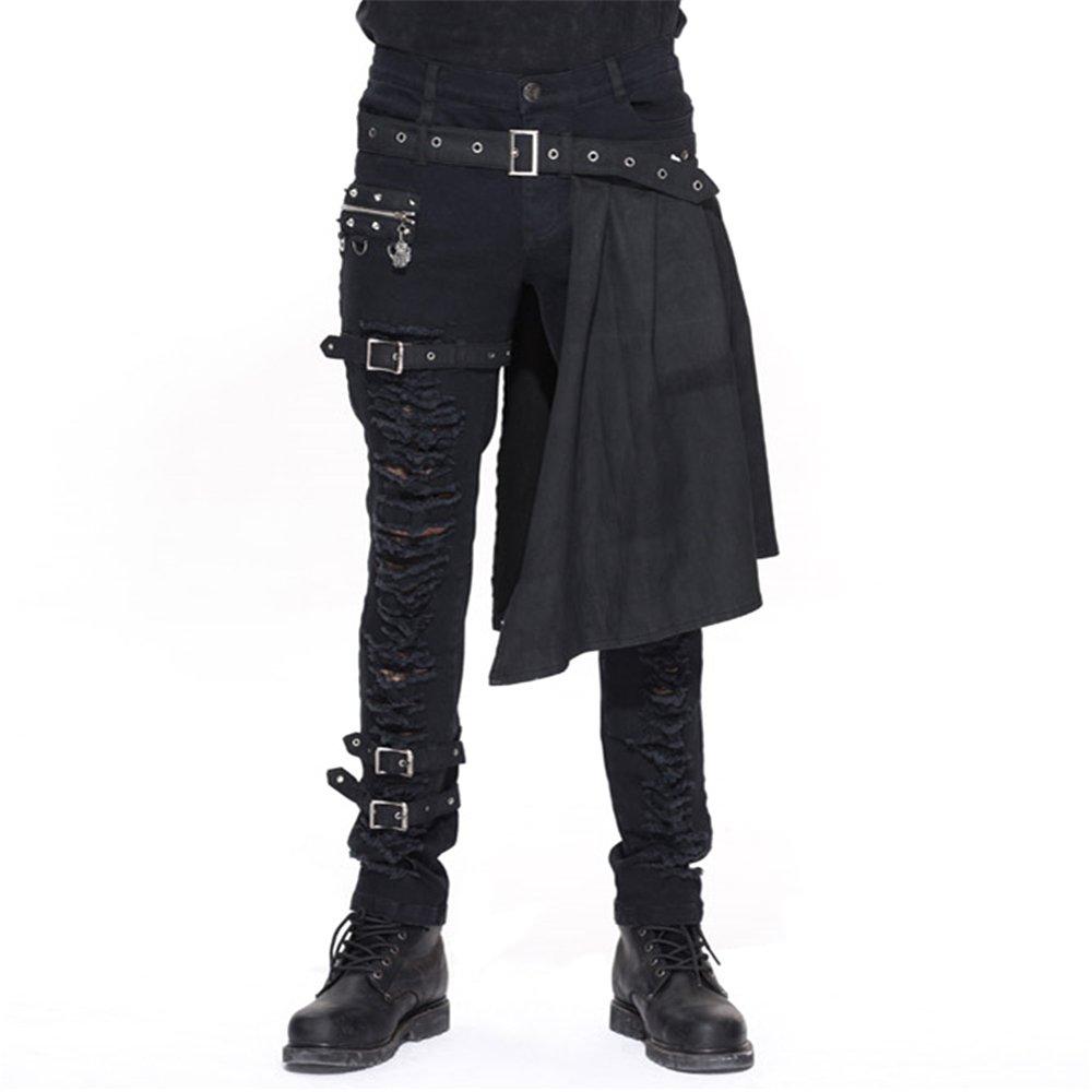 Devil Fashion Men Trouers with Kilt Holes Gothic Detachable Slim Casual Pants Y-612