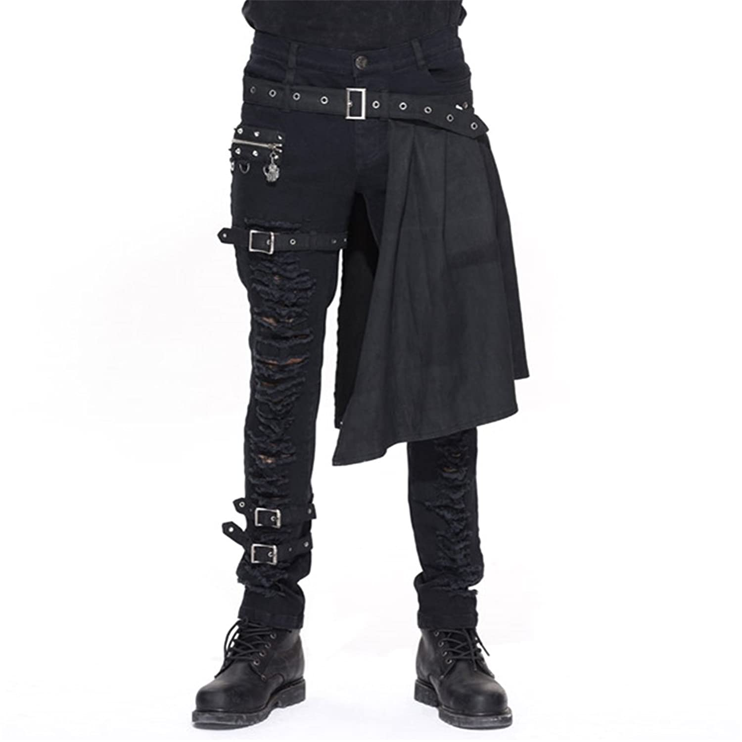 5805ff15d9cf outlet Devil Fashion Men Trouers With Kilt Holes Gothic Detachable Slim  Casual Pants