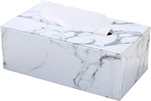 GORESE Rectangular PU Leather Tissue Box Holder, Home and Office Tissue Box Cover for Bedroom, Desks, Nightstands, Bathroom Vanity Countertops(White Marble)