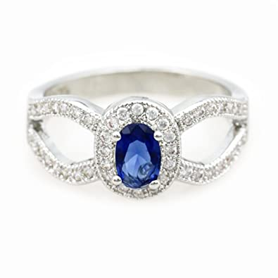 Amazoncom T Jewelry Blue Jewelry Engagement Ring Vintage