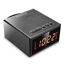Alarm Clock Radio with Bluetooth Speaker - Digital Dimmable Clock Radio with 2 Dual Alarm(Skip Weekend) for Bedroom/Kids,Wake to Micro SD Song/FM Radio,Rechargeable 8W Wireless Speaker V4.2