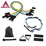 Ameeru Strength and Flexibility 11 piece Resistance Bands and Stretching strap bundle-with Door Anchor, Handles, Ankle Straps for Resistance Training, Yoga, Pilates, Martial Arts