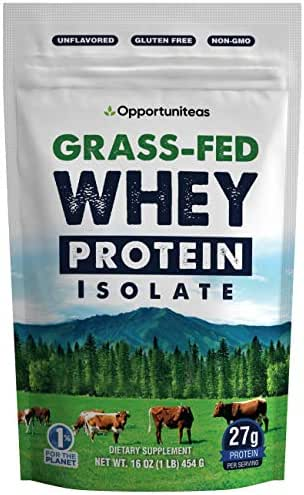 Grass Fed Whey Protein Powder Isolate - Unflavored + Cold Processed + Undenatured - Pure Wisconsin Grass-Fed Protein for Shake, Smoothie, Drink, or Food - Natural + Non GMO + No Gluten - 1 Pound