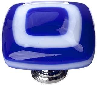 product image for Luster Square Knob Base Finish: Polished Chrome, Color: Cobalt