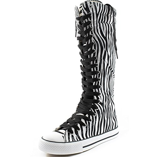 Dailyshoes Damesschoen Mid Kalf Lange Laarzen Casual Sneaker Punk Flat, Klassieke Zwarte Zebra Laarzen, Klassiek Zwart Kant