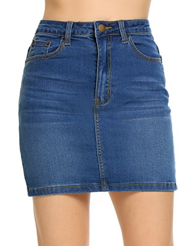 Distressed Mini Denim Jean Skirt - Women's Casual Distressed Denim Mini Pencil Skirt, Dark Blue, XX-Large