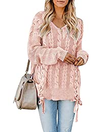 0a1cf54a417 Womens Pullover Sweaters Plus Size Cable Knit V Neck Lace Up Long Sleeve  Fall Jumper Tops