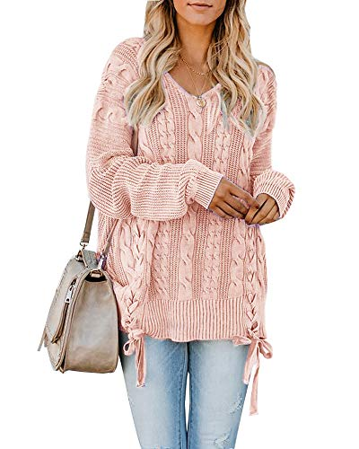 Womens Pullover Sweaters Plus Size Cable Knit V Neck Lace Up Long Sleeve Fall Jumper Tops Pink