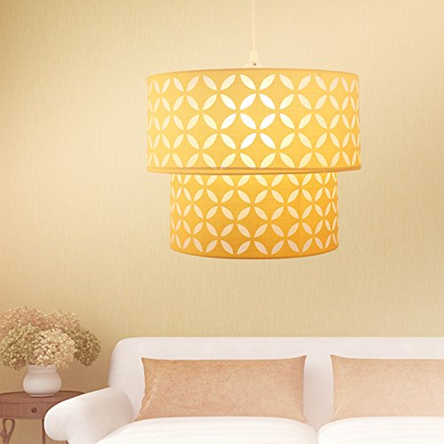 OYGROUP Yellow Lampshade with E26 or E27 Bulb Base PVC Iron Frame Double shade (Only Lampshade) (Only Pendant Shades)