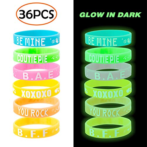 36PCS Valentine's Day Heart Silicone Rubber Bracelets Wristbands - 6 Different Glow in Dark Assorted Designs - Party Favors for Kids School Classroom Gifts -