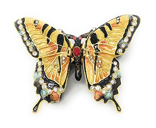 Kubla Crafts Enameled Tiger Swallowtail Butterfly Trinket Box, Accented with Austrian Crystals, 2 Compartments ()