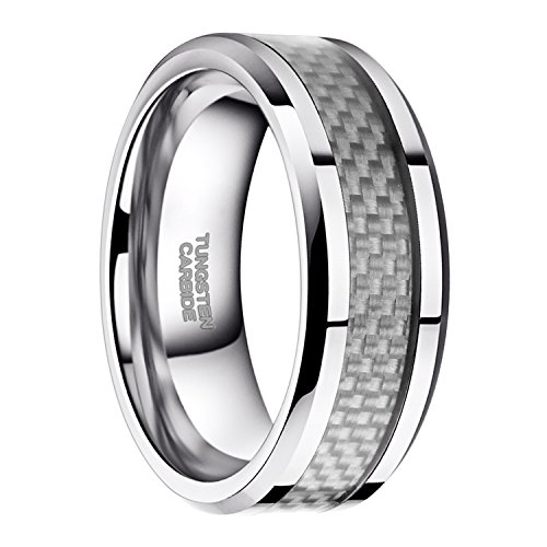 Solid Tungsten Ring - Tungsten Wedding Ring for Him and Her 8mm Durable Solid White Carbon Inlay Engagement Ring Size 11