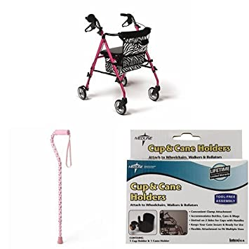 Amazon.com: Medline Posh Rollator, Basic Bundle con caña de ...