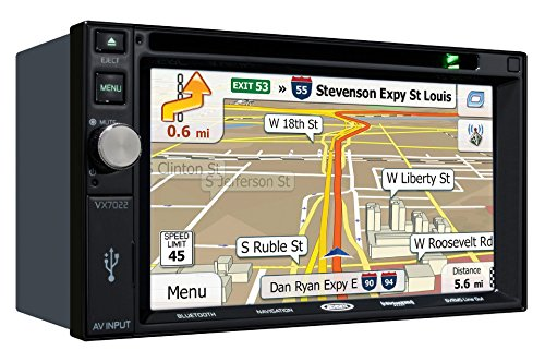 Jensen VX7022 2 DIN Multimedia Receiver, 6.2' Touch Screen with Bluetooth, SiriusXM (Black)