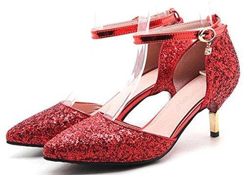Idifu Donna Dolce Paillettes Scarpe A Punta Con Cinturino Alla Caviglia Con Cinturino Alla Caviglia