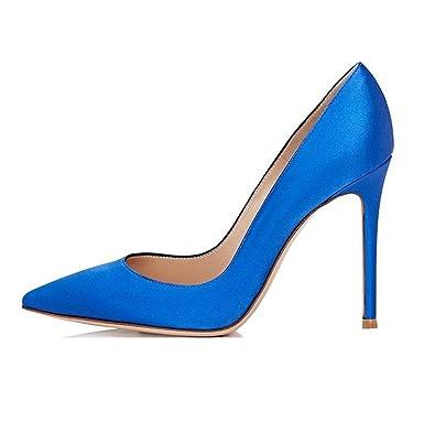 bc56c71a808c8b EDEFS Spitze Damen Pumps Stilettos Satin Schuhe High Heels Elegant Blau Größe  EU35