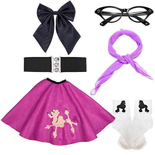 50s Girls Costume Accessory Set - Poodle Skirt,Elastic Cinch Belt,Ponytail Holders,Chiffon Scarf,Cat Eye Glasses,Bobby Socks (OneSize, -