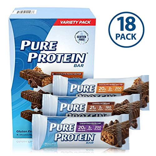 Pure Protein Bars, High Protein, Nurtritious Snacks to Support Energy, Low Sugar, Gluten Free, Variety Pack, 1.76oz, 18 Pack -