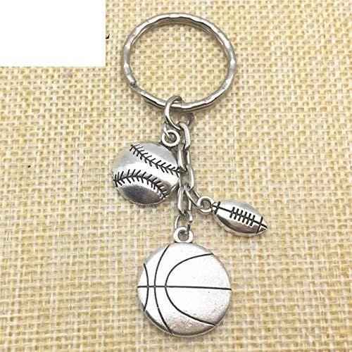 (Sports Charm 2Pcs Handmade DIY Craft Custom Keyrings Basketball Foot Base Ball Rugby Charms Jewelry Key Chains Keychain Keyring Chain Couples Boyfriend Birth Gift)