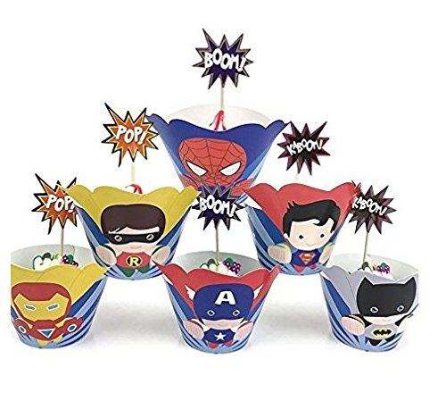 Astra Gourmet 24 sets Supercute Superhero Cupcake Toppers and Wrappers, Super hero Cupcake Toppers and Wrappers, Superman Batman Ironman Captain America Spiderman and Robin -