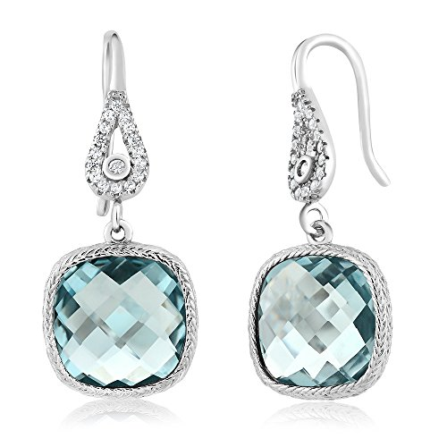 Sterling Silver Simulated Aquamarine Dangle Earrings For Women (11.00 cttw, 30X12MM Cushion - Simulated Gems Earrings