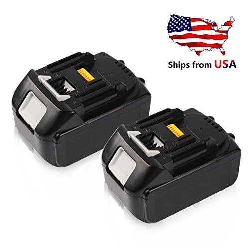 Enegitech 18V 5.0Ah Lithium-ion Battery Replacement for Makita BL1850 BL1850-2 BL1840 BL1830 BL1815 LXT-400 194204-5 Cordless Power Tools - 2 Pack