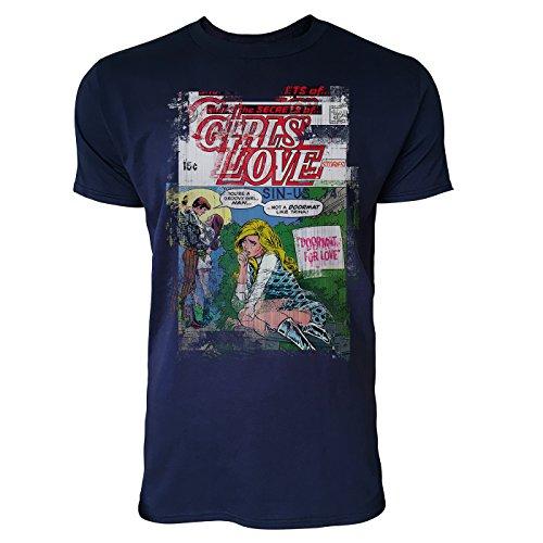 SINUS ART® Girls Love Herren T-Shirts stilvolles dunkelblaues Navy Fun Shirt mit tollen Aufdruck