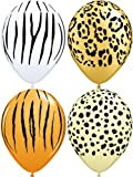 "10 x Special Assorted Safari Animal Skin Party/Birthday Balloons - 11"" (Tiger/Cheetah/Leopard/Zebra)"