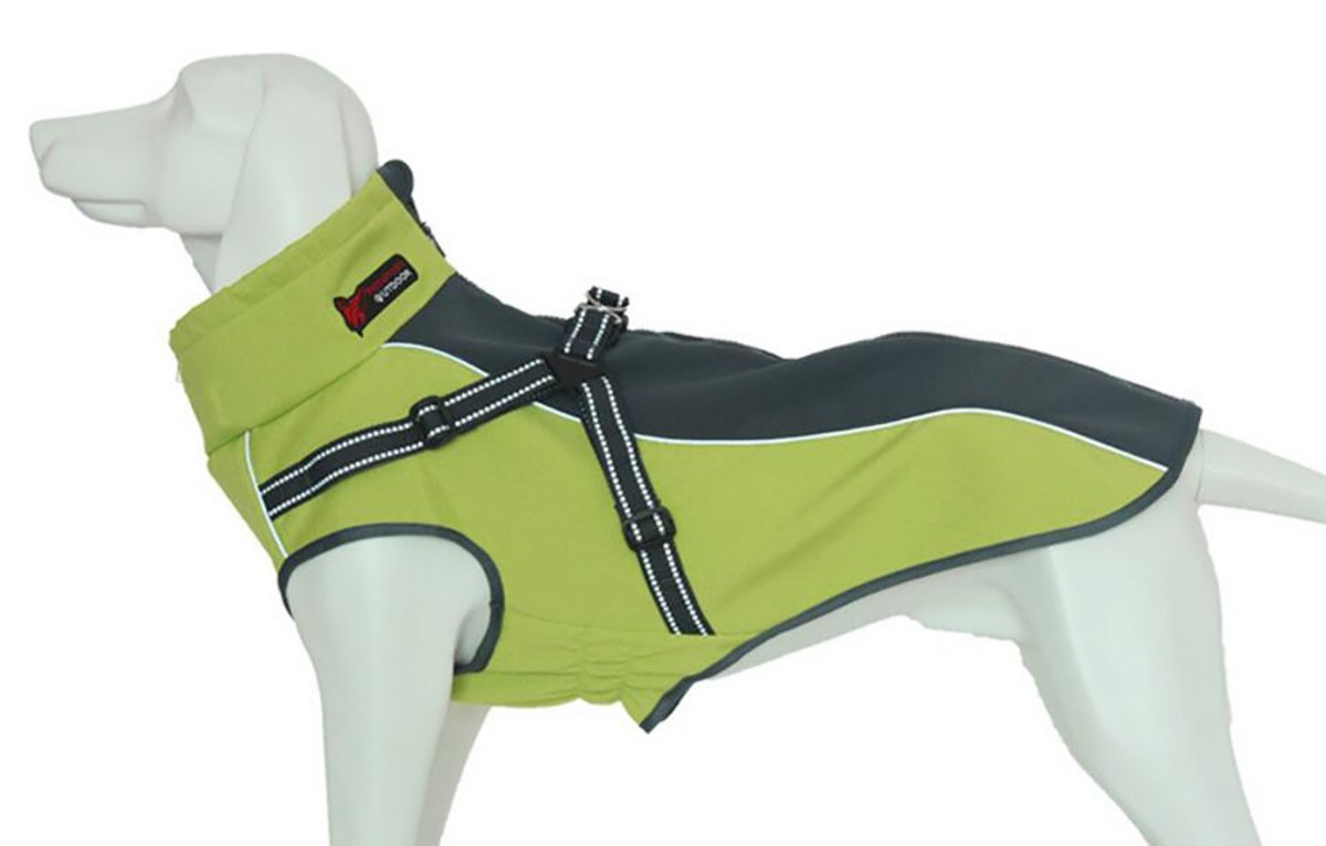 Xanday Dog Jacket with Harness, Windproof Dog Vest with Reflective Strips for Medium Large Dogs, Warm and Cozy Dog Sport Vest, Dog Winter Coat, Warm Dog Apparel (Fluorescent Green, L)