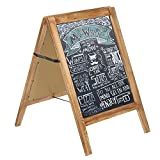 30-Inch Tall Burnt Wood A-Frame Chalkboard Sign, Double Sided Sandwich Message Board
