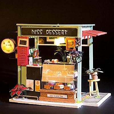 Casas de muñecas de Mi tienda de postres con luces LED,Dreamhouse & Juguete de montaje de bricolaje,2113.515CM