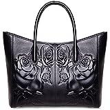 PIJUSHI Designer Women's Floral Leather Tote Shoulder Handbags 65307 (one size, black)