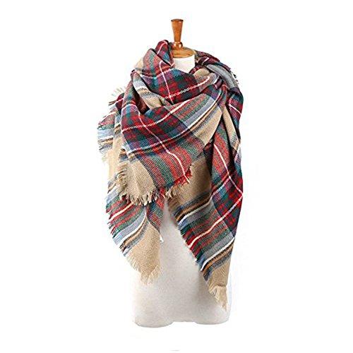 High Chair French (Echo Paths Women's Tassels Soft Plaid Tartan Scarf Winter Large Blanket Wrap Shawl A Red Brown)