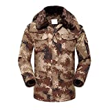 Aurdrey Hepburn Men's Winter Warm Cotton Big-Tall Outerwear Coats Thickening Plus Cashmere Windproof Army Camouflage Outdoor Coat Jacket For Women and Men (170/L)