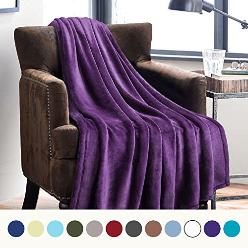 Bedsure Flannel Fleece Luxury Blanket Purple Twin Size Light
