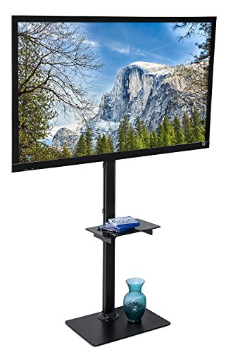 Lcd Flat Panel Monitor Stand (Mount-It! LED LCD Flat Panel Screen TV Floor Stand, TV Shelf and Stand fits 32 to 70 inch televisons up to 55 lbs, VESA mount compatible up to 400x400 (MI-877))