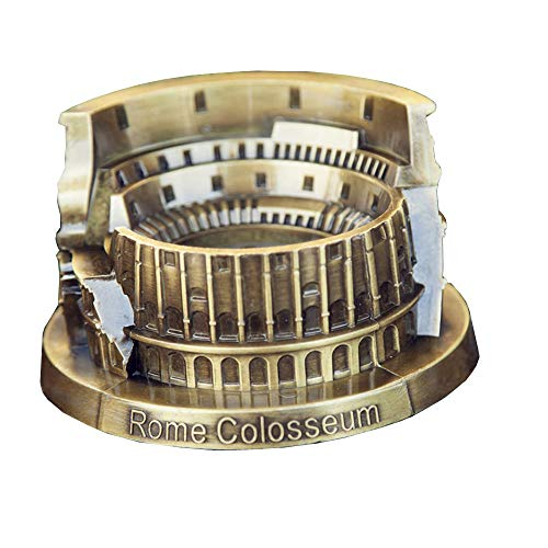 (WonderKathy Vintage Metal Roman Colosseum Sculpture Cigarette Ashtray Model Home Decor Ornaments Italy Souvenir Travel Gift Desk Figurine Ornaments Statues Display (Bronze))